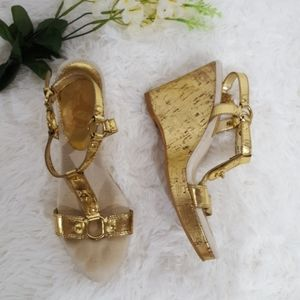 Coach Mercy Cork Wedge Sandals Size 9